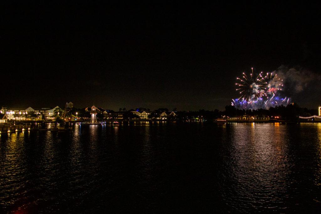 Epcot fireworks from Walt Disney World Swan & Dolphin hotel bridge