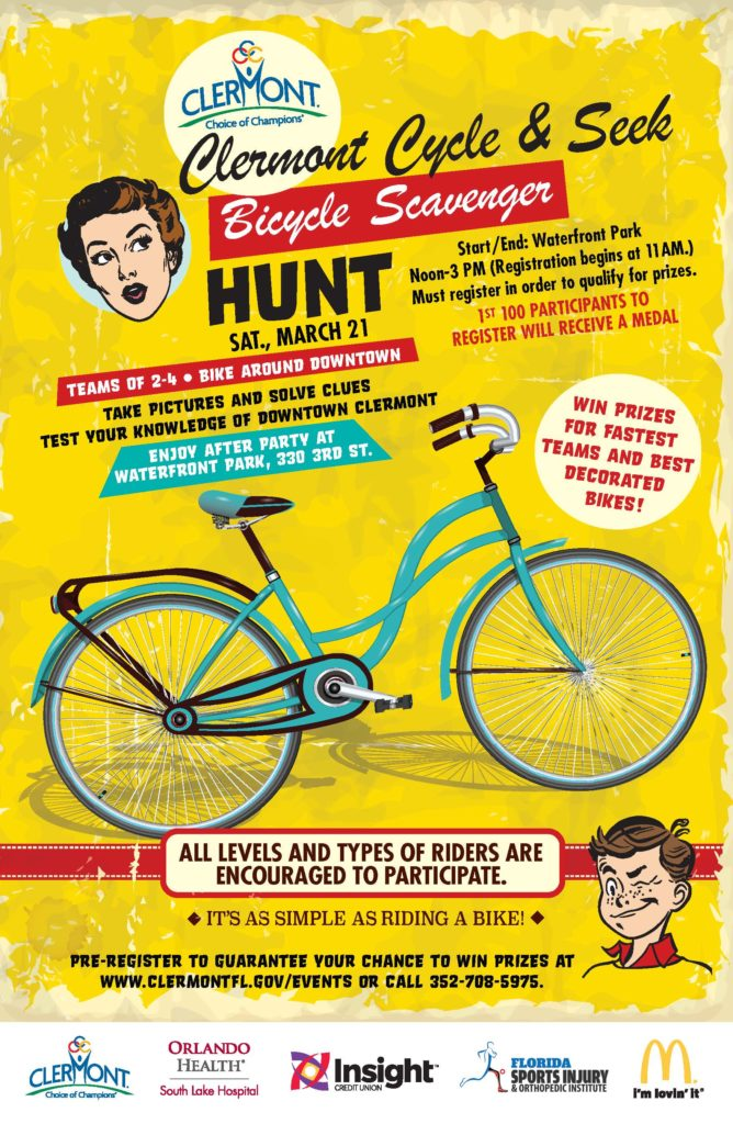 Downtown Clermont Cycle & Seek bicycle scavenger hunt