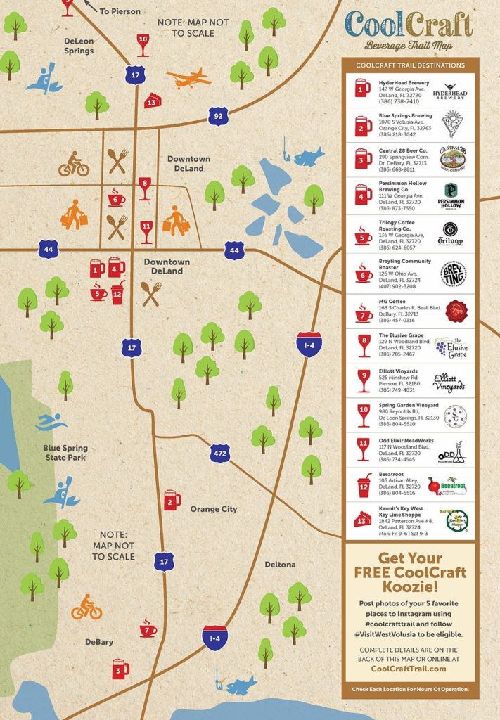 Craft Trail in West Volusia County map